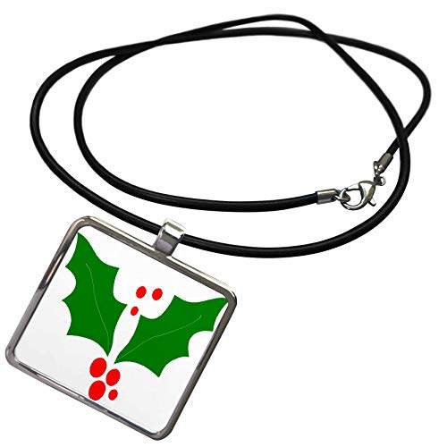 3dRose TDSwhite - Christmas Holidays Xmas - Christmas Holly Leaves Red Berries Design - Necklace with Rectangle Pendant - Holly Berry Designs
