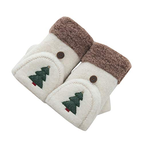 Palarn Women's Winter Half Finger Gloves Cartoon Thick Plush Gloves