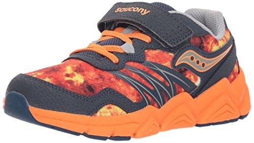Saucony Boys' Kotaro Flash A/C Sneaker, Grey/Orange, 1 Medium US Little - Sneakers Orange Kids