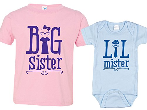 Sibling Shirt Set, Big Sister and LIL Mister Bodysuit, Includes Size 2 & 0-3 MO