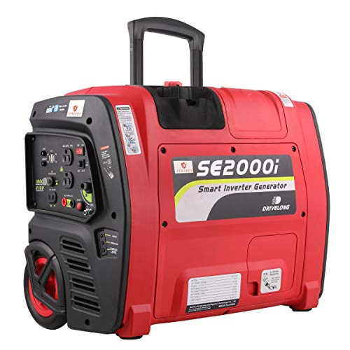 SURGEDO Smart 2100 Watts Portable Inverter Generator 12VDC and 120VAC Output Gas Powered Trolley Generator Emergency Power with APP and Wheels