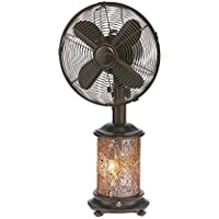 DecoBREEZE Oscillating Table Fan and Tiffany Style Table Lamp, 3-Speed Ciculator Fan, 10-Inch, Honey Amber Mosaic Glass Base