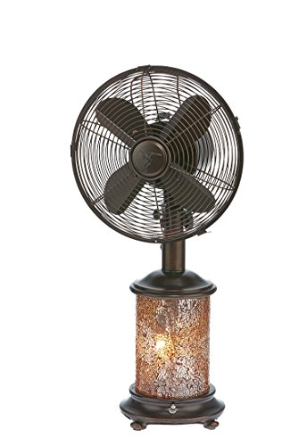 - DecoBREEZE Oscillating Table Fan and Tiffany Style Table Lamp, 3 Speed Circulator Fan, 10 In, Honey Amber
