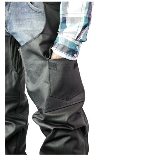 Leather Chaps - Classic Biker Leather Motorcycle Chaps 2XL