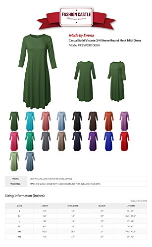 Dress Made Solid Midi Side Fewdrt0004 Round by Women's Viscose Casual Green Neck Pockets with Emma Kelly 4I8wqIzr