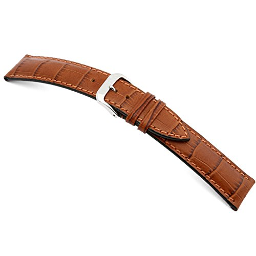 19mm RIOS1931 Cognac Louisiana - Genuine Embossed Leather Watch Band with Gator Print and Matching Stitching 114x82