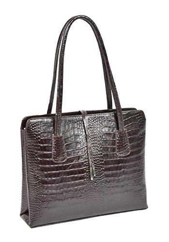 Damen Klassisch Croc Druck Echtes Leder Schulter Handtasche Arbeitstasche Alma Braun