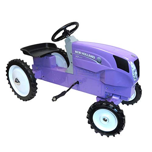 - ERTL New Holland T7.270 Die Cast and Stamped Steel Purple Pedal Tractor with Jewel Decals