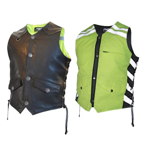 Harley Davidson Reflective Vest - Missing Link Men's G2 D.O.C. Reversible Safety Vest (Black/HiViz Green, XX-Large)