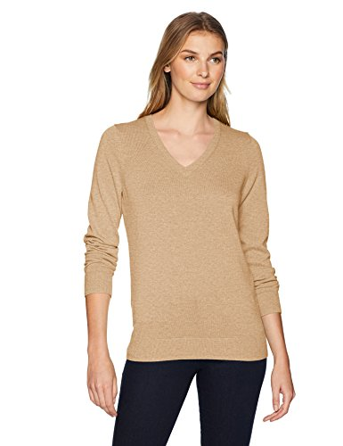 - Amazon Essentials Women's Lightweight V-Neck Sweater, Camel Heather, Medium