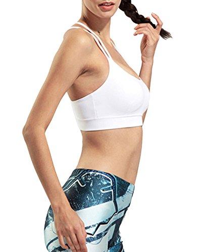Sujetador Deportivo Mujer Elástico Yoga Correr Gimnasia Sport-Bh Blanco