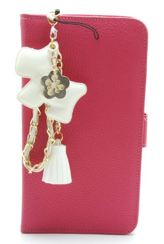 ZZYBIA® Galaxy Mega 6.3 LD Shocking Pink Leatherette Stand Case Card Holder Wallet with White Dog Fringed Dust Plug Charm for Samsung Galaxy Mega 6.3 I9200 I9205