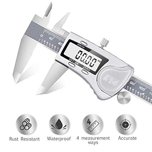 Digital Caliper - Waterproof Stainless Steel Digital Caliper Measuring Tool With Large LCD Display 6'' Maximum Measurement 0.0005''/0.01mm Resolution Inch To Metric Conversion for Excellent Accuracy by Dijite