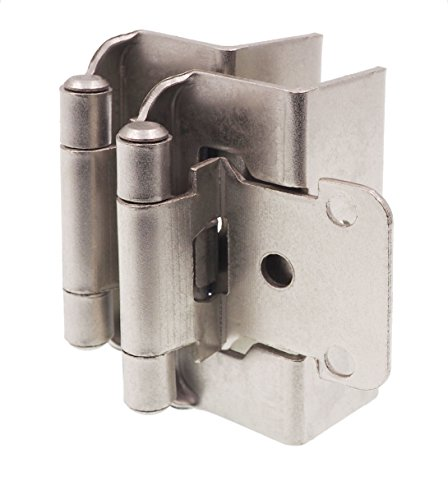 "DecoBasics 1/2"" Overlay, 3/4"" Frame Full Wrap Self Closing Hinge, Satin Nickel, 25 Pairs (sets) pack"