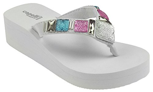 Trims White 4 Wt (Capelli New York Girls Matte Flip Flops With Gem and Bead Trim White Combo 3/4)
