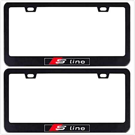 1 Auggies Sline Sport Quattro Black Red Stainless Steel Black License Plate Frame Cover Holder Rust Free with Caps for and iScrews