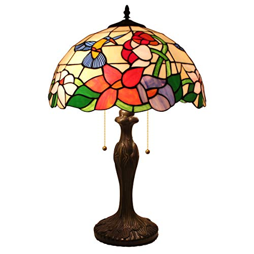New 24 Inch Stained Glass - Tiffany Style Table Desk Beside Lamp 24 Inch Tall Hummingbird Design Stained Glass Lamps Shade 2 Light Antique Zinc Base for Living Room Bedroom Set W16 inch S101 WERFACTORY