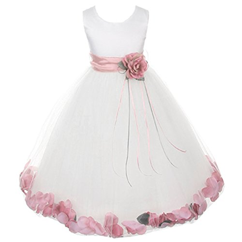 Baby Infant Toddler White Sleeveless Satin Bodice Floating Flower Petals Girl Dress with Matching Organza Sash and Double Tulle Skirt - Dusty Rose Set - Size Medium