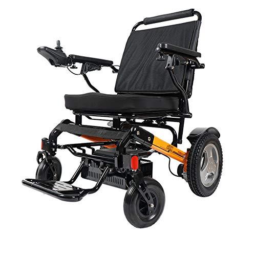 Qnlly Lightweight Folding Power Reclining Electric Wheelchair(Black)