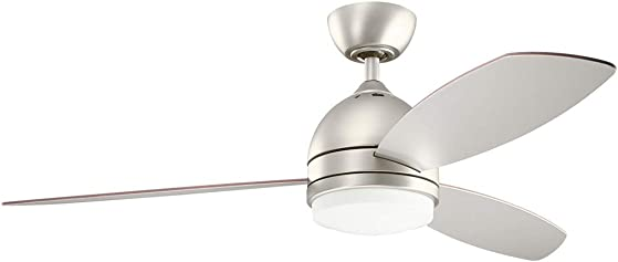 Kichler 330002NI Vassar 52 Ceiling Fan with LED Light and Wall Control, Brushed Nickel