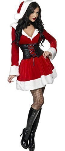 Ladies Fever Hooded Santa Sexy Christmas Xmas Miss Mrs Claus Festive Fancy Dress Costume Outfit (UK -
