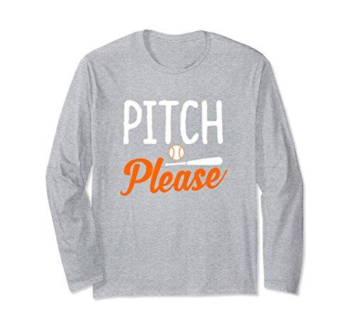 Unisex Pitch Please- Baseball & Softball Game Day Long Sleeve Shirt 2XL Heather Grey