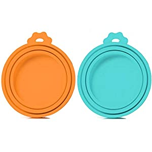 SLSON 2 Pack Pet Food Can Cover Universal Silicone Cat Dog Food Can Lids 1 Fit 3 Standard Size BPA Free and Dishwasher,Blue and Orange 13