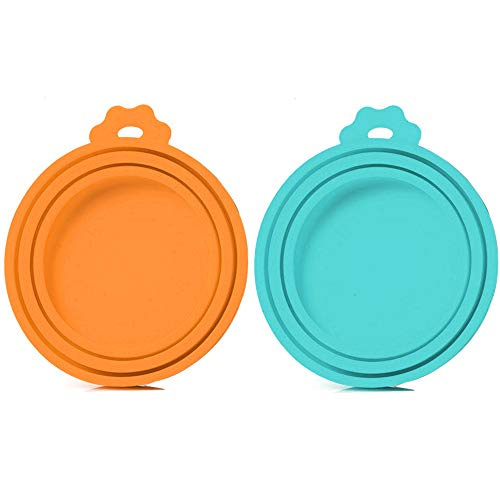 SLSON 2 Pack Pet Food Can Cover Universal Silicone Cat Dog Food Can Lids 1 Fit 3 Standard Size BPA Free and Dishwasher,Blue and Orange