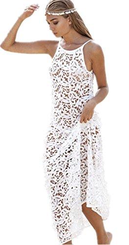 Summer Women Lace Floral Backless Beach Boho Maxi Sundress Long Dress (Asia M(US 4))