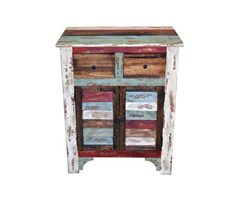 Rustic Western Multi-Color Louvered Nightstand or Phone Chest Real Wood Bedside Cabinet