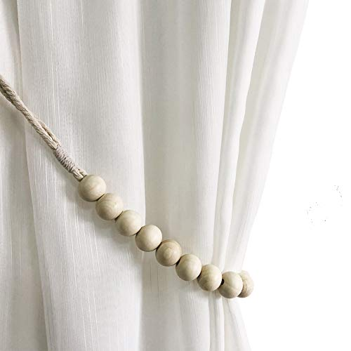 Shinywear Natural White Wood Beads Rope Cotton Cord Curtain Ties Back to Match Wall Hooks Hold Drapery - Nice for Hanging Shelf Rustic Home Decor