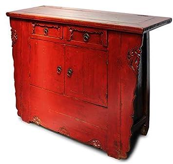 Asiático Cómoda (41 X 105 X 86cm) de Madera de Olmo Rojo con ...