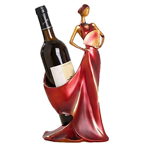 Wine Holder,Tall Drink Giraffe Animal Tabletop Single Wine Accessory Bottle Holder,Women Shaped Sturdy Sculpture Wine Bottle Holders, Figurine Kitchen Decoration Crafts, 13.8