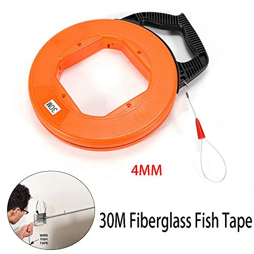 Fiber Glass Fish Tape Reel Conduit Wire Cable Puller Ducting Rodder 98.4FT 30M Dia 4mm ()