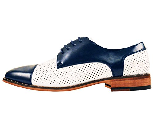 Amali Mens Two Tone Cap Toe With Perforation Smooth Oxford Dress Shoe Style Yoshida Navy E5nfSCZ