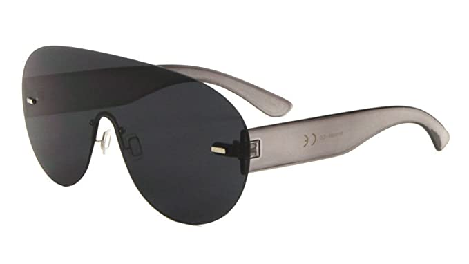 867d2f76194 Aspen Rimless Mono One Piece Shield Sunglasses (Black Transparent Frame
