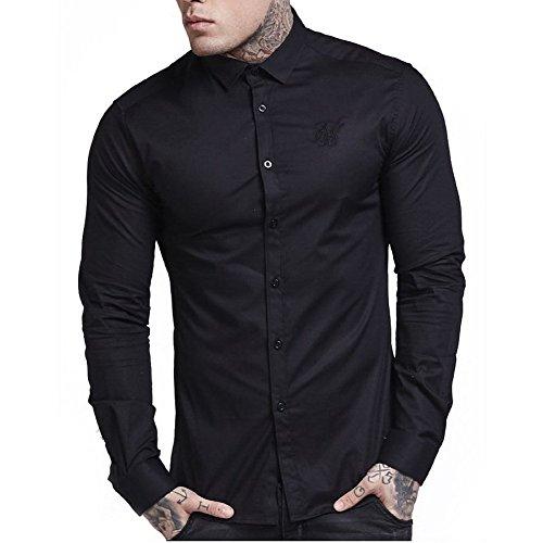 Sik Silk Camicia Maniche Lunghe SikSilk – Fitted Cotton Stretch Nero Formato: S (Small)