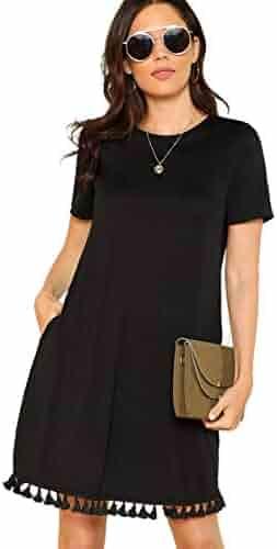 950ebecde5966 Romwe Women's Summer Short Sleeve Pocket Tassel Hem Loose Tunic T-Shirt  Dress