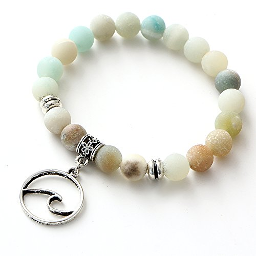 17mile Matte Stone Wave Peace Dove Charm Bracelet Natural Stone Beaded Yoga Prayer Stretchable Gifts for Women and Girls