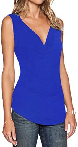 Sarin Mathews Women's V Neck Ruched Sleeveless Sexy Blouse Stretch Tank Tops