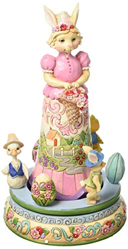 Jim Shore Heartwood Creek Easter Bunny with Rotating Easter Parade Figurine 4056847