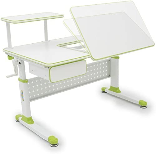 ApexDesk Little Soleil DX 43 W Children s Height Adjustable Study Desk w Integrated Shelf Drawer Desk Only, Green