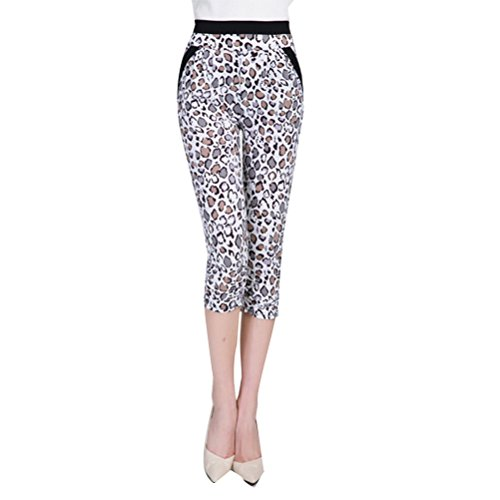 Zhhlinyuan Mujeres Multicolor Stretchy Pencil Pants Leggings Casual Fashion Silk Trousers 3/4 Leopard