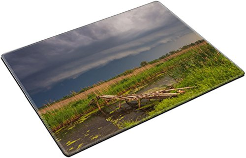 Cyclone Slip (MSD Place Mat Non-Slip Natural Rubber Desk Pads design: 35273878 Terrific storm cyclone over the beautiful countryside river)