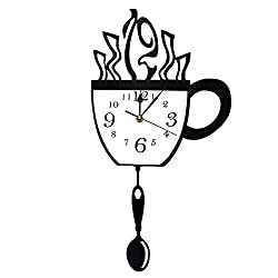 GZGJ Coffee Cup and Spoon Creative Pendulum Wall Clock Modern Design Kitchen Wall Watches Wall Art Decor for Cafe Shop Room