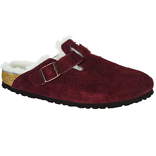 Image of Birkenstock Boston Port Natural Shearling Suede Clogs 39 N (US Women's 8-8.5)