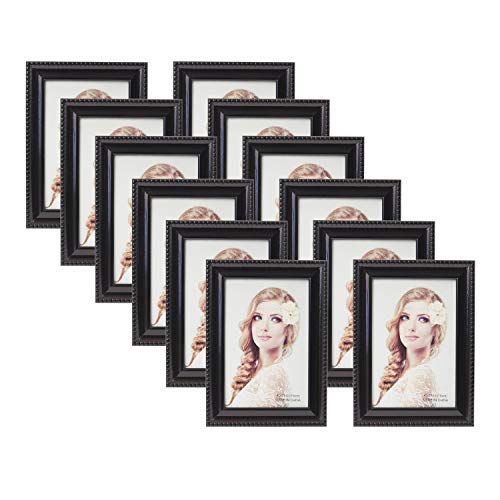 Houseables Picture Frame Set, 12 Pack, Black, 4x6 Inches, Wood, Glass, Multi Photo Kit, Gallery Wall Décor, Table Display, Horizontal or Vertical Hanging Mount, for Desk, Family Mural, Collage Bundle ()