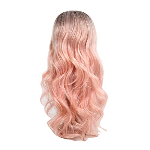Jaromepower 26'' Halloween Wigs Cosplay Wigs Long Curly Anime Wigs Long Curly Wigs for Costume Festival Parties Long Wave Curly Hair Wig Synthetic Gradient Pink Dark Root Wave Curly Wigs
