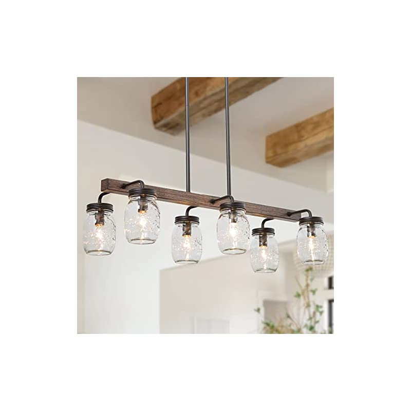 """Mason Jar Chandelier, 6-Light Kitchen Island Lighting, 27.5"""" Farmhouse Chandelier for Dining Room with Glass Shades"""