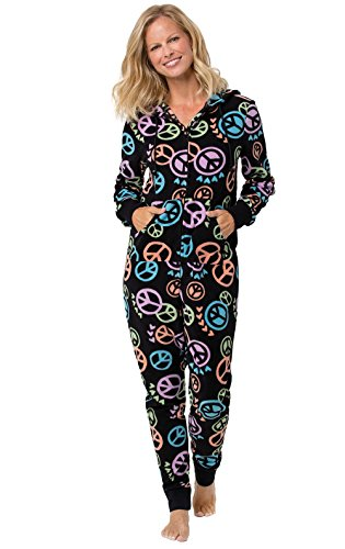 PajamaGram Women's Fleece Hooded Onesie Pajamas